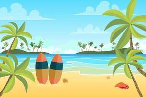 praia tropical com pranchas de surf paisagem de fundo em estilo simples vetor