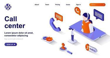 página de destino isométrica do call center. conceito de isometria de suporte ao cliente vetor
