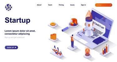 página inicial isométrica de destino. lançando novo conceito de isometria de projeto de negócios vetor