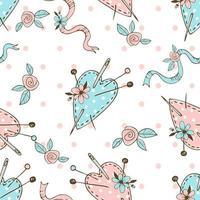 padrão de bolinhas sem costura sobre o tema de bordado com lindas almofadas de corações costuradas para agulhas. vetor