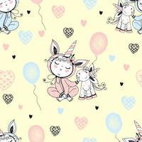 padrão sem emenda com um bebê fofo de pijama com seu unicórnio de brinquedo e balões. vetor
