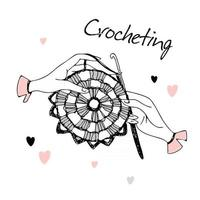 crocheting.hands tricotando um guardanapo. logotipo. vetor. vetor