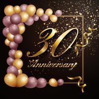 30 anos aniversário festa fundo banner design com lu vetor