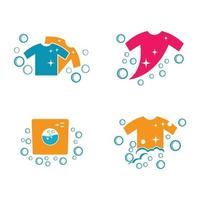 ilustração das imagens do logotipo da lavanderia vetor