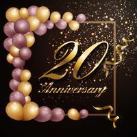 Projeto de banner de fundo de celebração de aniversário de 20 anos com lu vetor
