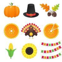 coleção de vetor de elementos de outono e coisas do dia de ação de graças definir versão gradiente de design de estilo simples isolada no fundo branco. abóbora, chapéu de peregrino, bolota, torta, peru, milho, bandeiras, girassol.