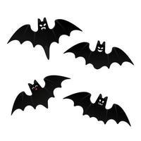 Halloween morcegos voadores com ilustração em vetor design estilo plano rosto assustador isolada no fundo branco. símbolos de celebração do dia das bruxas.