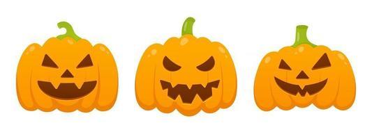 3 abóboras laranja de halloween com uma expressão de rosto assustadora careta vetor