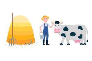 agricultor com forquilha e balde perto da pilha de feno e vaca manchada de branco preto ficar com grama em sua ilustração vetorial de estilo plano de boca isolada no fundo branco. símbolo da produção de leite. vetor