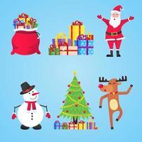 papai noel, sacos de presente com presentes, boneco de neve, árvore de natal, conjunto de renas vetor