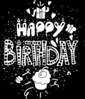 cartaz feliz aniversário original desenhado à mão citação vetor