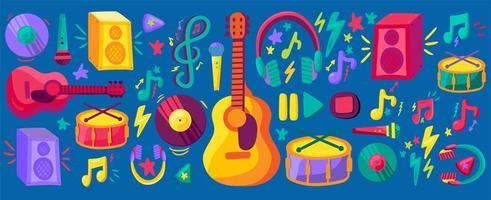 conjunto de adesivos planos de festival musical vetor