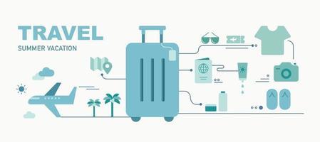 ilustração do ícone de viagens de férias. cartaz de conceito de infográfico de ampla faixa horizontal. vetor