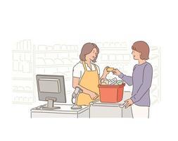 caixas e clientes de supermercados. vetor