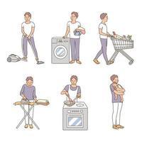 um homem está fazendo o trabalho doméstico. mão desenhada estilo ilustrações vetoriais. vetor