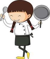 pequeno chef segurando o personagem de desenho animado de equipamentos de cozinha isolado vetor
