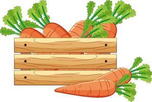 cenouras em uma caixa de madeira em estilo cartoon isolado vetor