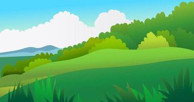 cena da paisagem da natureza com ilustração do vetor do fundo do céu. bela paisagem da natureza do prado. colina com floresta tropical.