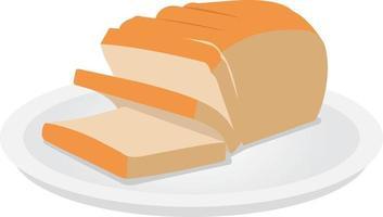 fatia de pão no prato design de vetor plano. pão de sanduíche branco. naco de pão dividido em placa