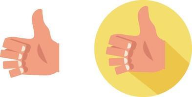mão plana real polegar para cima como sinal na ilustração vetorial de fundo branco. como sinais isolados, bom sinal vetor