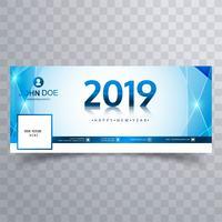 2019 ano novo projeto de modelo de banner de capa de facebook vetor