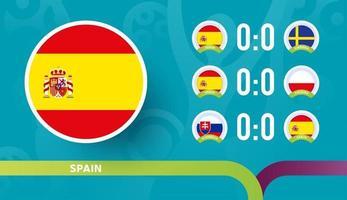 a seleção da espanha agenda jogos da fase final do campeonato de futebol de 2020. ilustração vetorial de partidas de futebol de 2020 vetor