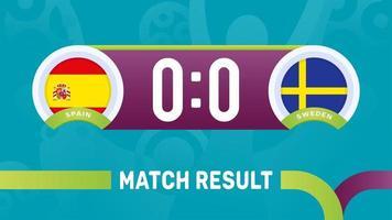 Resultado da partida Espanha Suécia, ilustração do vetor do campeonato de futebol europeu 2020. jogo do campeonato de futebol 2020 contra times - introdução ao fundo do esporte