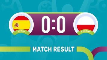 Espanha polônia resultado da partida, ilustração do vetor do campeonato de futebol europeu 2020. jogo do campeonato de futebol 2020 contra times - introdução ao fundo do esporte