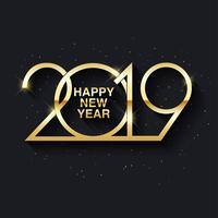 Feliz ano novo 2019 design de texto