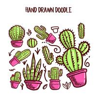 Vetor de cactos e suculentas. Doodle ilustração conjunto.