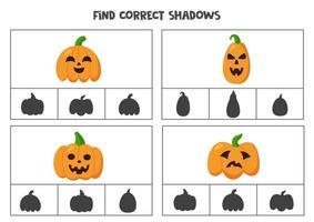 encontre a sombra correta das abóboras de halloween. jogos de cartas de clipe para impressão para crianças. vetor