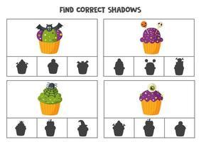 encontre a sombra correta dos cupcakes de halloween. jogos de cartas de clipe para impressão para crianças. vetor