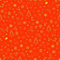 feriado de inverno em padrão sem emenda de fundo vermelho para decoração de festa, ano novo ou Natal vetor