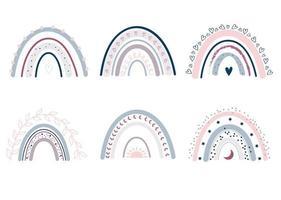 conjunto de bonitos arco-íris em estilo escandinavo. vetor arco-íris isolado em um fundo branco. Cores pastel. arte Moderna. Boho pastel arco-íris.