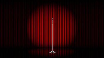 microfone com suporte no palco com cortina vermelha e spot light, ilustração vetorial vetor