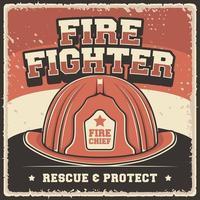 gráfico de vetor de ilustração vintage retrô de serviço de bombeiros de bombeiro adequado para cartaz de madeira ou sinalização