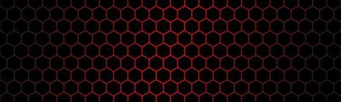 Cabeçalho de tecnologia moderna escura com malha de hexágono vermelho. banner de textura geométrica de metal abstrato. fundo de vetor simples