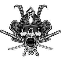 sinal de caveira samurai vetor