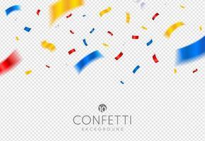 confetes de ouro, vermelho e prata em fundo transparente. evento festivo e festa. fitas de carnaval de celebração. cartão de luxo. vetor