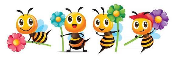 Abelha fofa de desenho animado com uma série de sorriso segurando um conjunto de mascote de flores grandes e coloridas vetor