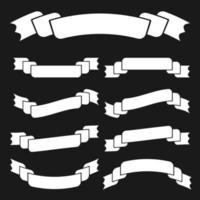 conjunto de silhuetas brancas isoladas planas fitas banners fundo preto vetor