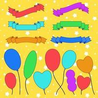 conjunto de silhuetas coloridas planas isoladas faixas de fitas e balões em um fundo amarelo. ilustração vetorial plana simples. com lugar para texto. adequado para infográficos, design, publicidade, festivais, rótulos. vetor