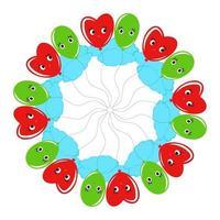 uma coroa de flores redonda de desenhos animados de balões sorridentes verdes e vermelhos. em um fundo branco vetor