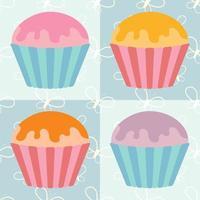 um conjunto de bolos isolados coloridos planos com esmalte de várias cores. em cestos listrados. sobre um fundo azul com silhuetas abstratas de borboletas. vetor