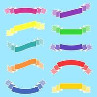 conjunto de bandeiras isoladas de fitas coloridas planas. sobre um fundo azul. adequado para o design vetor