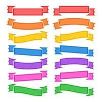 conjunto de fitas coloridas planas isoladas e banners em um fundo branco. ilustração vetorial plana simples. com lugar para texto. adequado para infográficos, design, publicidade, festivais, rótulos. vetor