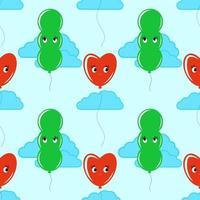 cor padrão sem emenda de balões sorridentes fofos sobre um fundo azul com nuvens. ilustração vetorial plana simples. adequado para papel de parede, tecido, papel de embrulho, capas. vetor