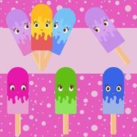 conjunto de sorvete de desenho animado isolado colorido liso, regado com esmalte. em palitos de madeira. cor apetitosa. sobre um fundo rosa. vetor