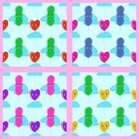 definir padrão sem emenda de cor de balões sorridentes fofos sobre um fundo azul com nuvens. ilustração vetorial plana simples. adequado para papel de parede, tecido, papel de embrulho, capas. vetor