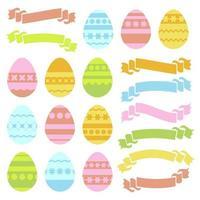 conjunto de ovos de Páscoa isolados coloridos e banners de fita em fundo branco. com um padrão geométrico abstrato. ilustração vetorial plana simples. adequado para decoração de cartões postais, publicidade, revistas, sites. vetor